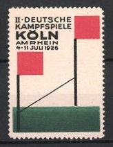 Reklamemarke Köln, II. Deutsche Kampfspiele 1926, Einlaufgerade - Zielstrecke, Ziellinie