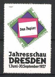 Reklamemarke Dresden, Jahresschau das Papier 1927, Messelogo