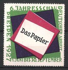 Reklamemarke Dresden, 6. Jahresschau das Papier 1927, Messelogo