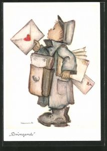 Künstler-AK Hummel: Briefträger bringt die Post