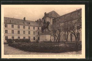 AK Saint-Cyr-l École, école spéciale militaire, statue de Marceau, cour Rivoli