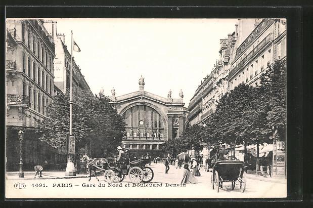 AK Paris, gare du nord et boulevard Denain, Bahnhof