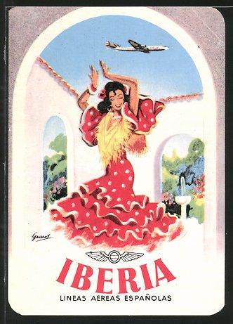 Kofferaufkleber Iberia Fluggesellschaft, Lineas Aereas Espanolas, Flamenco-Tänzerin, Flugzeug Lockheed Constellation