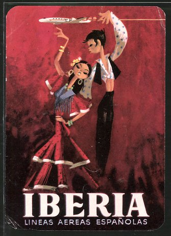 Kofferaufkleber Iberia, Fluggesellschaft, Lineas Aereas Espanolas, Tanzpaar & Flugzeug