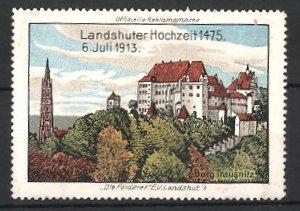 Reklamemarke Landshut, Landshuter Hochzeit 1913, Burg Trausnitz