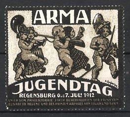 Künstler-Reklamemarke Zacharias, Regensburg, ARMA Jugendtag 1912, Kinder spielen Militär