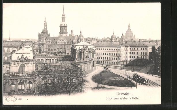 AK Dresden, Blick von Weber's Hotel