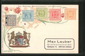 Lithographie Die ersten Briefmarken von Bayern und Wappen