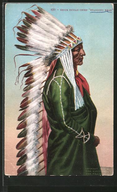 AK Sioux Indian Chief Standing Bear, Häuptling mit Federschmuck, First Nation