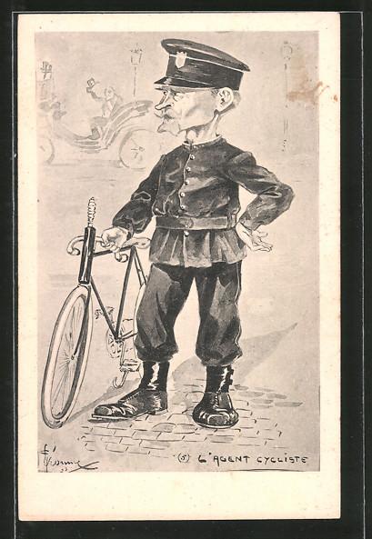 Künstler-AK L'Agent Cycliste, Polizist mit Fahrrad