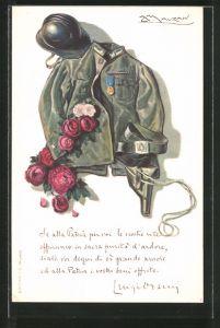 Künstler-AK Mauzan: Uniform eines italienischen Soldaten