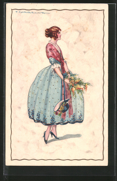 Künstler-AK Tito Corbella: Frau in elegantem Kleid mit Blumenstrauss