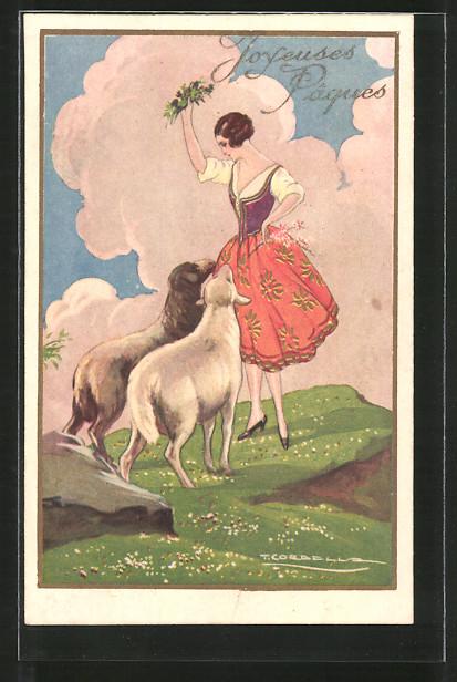 Künstler-AK Tito Corbella: Frau mit zwei Schafen auf der Weide