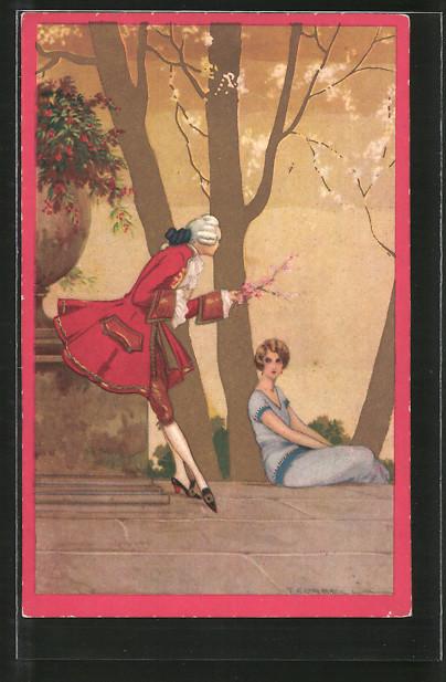Künstler-AK Tito Corbella: Mann reicht einer Frau einen Zweig mit Kirschblüten