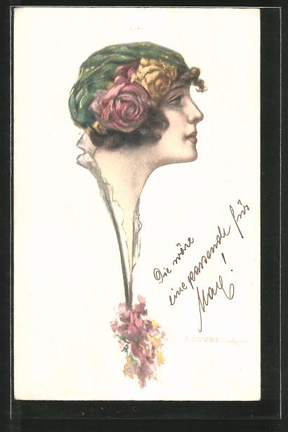 Künstler-AK Tito Corbella: Bild einer Frau mit Rosen im Haar
