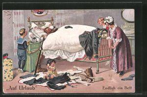 Künstler-AK Arthur Thiele: Auf Urlaub, Endlich im Bett, Soldat daheim, Humor
