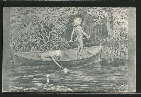 Künstler Ak Fidus Wasserrosen Nackte Kinder In Boot Nr 7029814