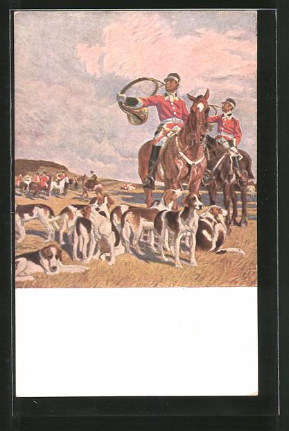 Künstler-AK Angelo Jank: Halali!, Reiter mit Hörnern und Jagdhunde