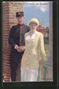 AK Le Roi et la Reine des Belges, König und Königin von Belgien