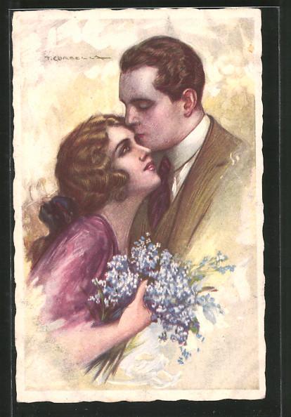Künstler-AK Tito Corbella: Liebespaar mit Blumen