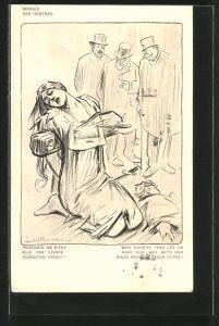 Künstler-AK Louis Raemaekers: Morale des neutres, Die Moral der Neutralen