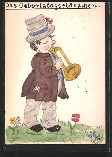 Künstler-AK Handgemalt: Das Geburtstagsständchen, Vagabund mit Trompete