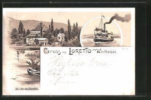Lithographie Loretto a. Wörthersee, Blick zum Ort, Dampfer