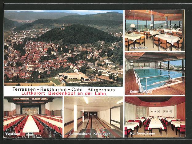 ak biedenkopf restaurant cafe b rgerhaus festsaal automatische kegelbahn schwimmbad aussen. Black Bedroom Furniture Sets. Home Design Ideas