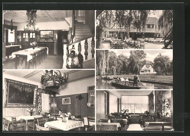 AK Lehde, Restaurant Cafe Venedig mit Gartenlokal, Aussen- u. Innenansichten