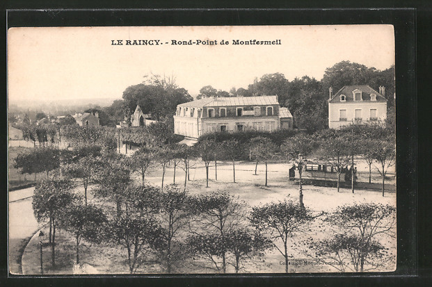AK Le Raincy, Rond Point de Montfermell, Strassenbahn