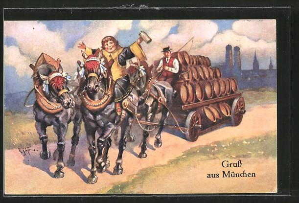 Künstler-AK Ernst Schlemo: München, Münchner Kindl auf Brauereiwagen