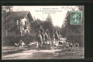 AK Chasse à Courre, Forêt de Saint-Fargeau, La Sortie du Chenil, Jäger mit Hundemeute