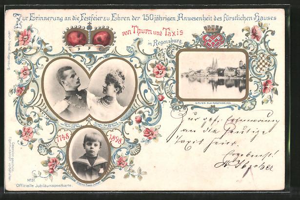 AK Regensburg, 150 Jahre Anwesenheit Fürst von Thurn & Taxis, Fürst Albert u. Fürstin Margarethe & Erbprinz Franz Joseph