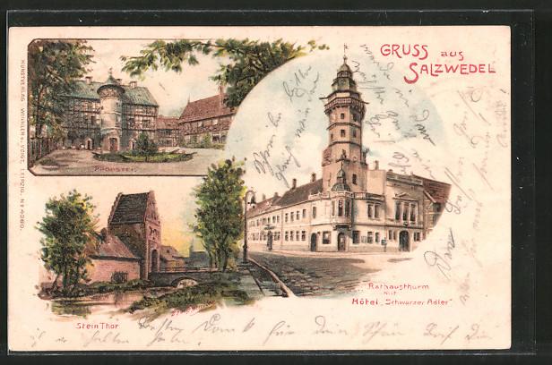 Künstler-Lithographie Erwin Spindler: Salzwedel, Hotel Schwarzer Adler mit Rathausturm, Steintor, Probstei