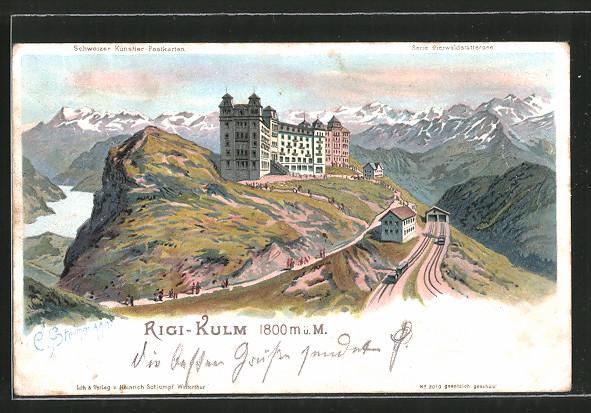 Künstler-Lithographie C. Steinmann: Rigi-Kulm, Hotel mit Gebirgspanorama