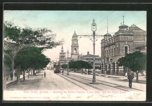 AK Durban, West Street showing the Police Station, Town Hall and the Natal Bank, Strassenbahn