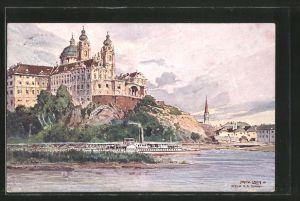 Künstler-AK Fritz Lach: Melk a. Donau, Dampfer passiert den Ort