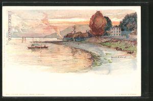 Künstler-Lithographie Manuel Wielandt: Intra-Pallanza, Küstenpanorama, Boot