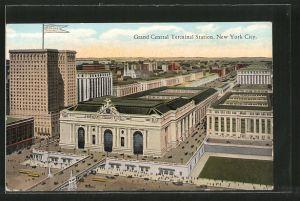 AK New York, NY, Grand Central Terminal Station, Bahnhof, Strassenbahn
