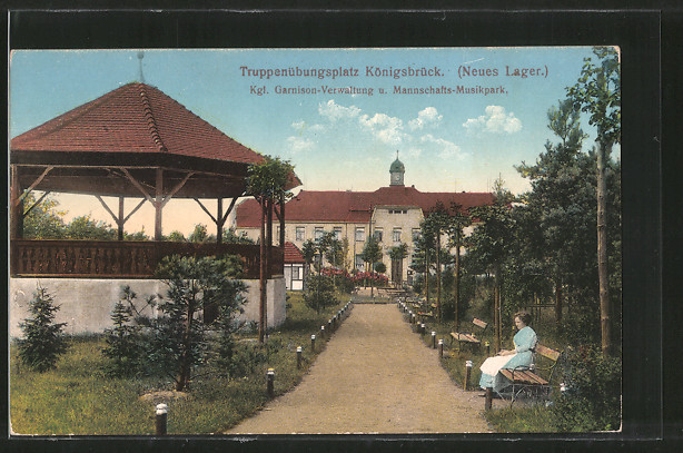 AK Königsbrück, Truppenübungsplatz, Neues Lager, Kgl. Garnison-Verwaltung & Mannschafts-Musikpark