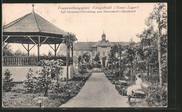 AK Königsbrück, Truppenübungsplatz, Kgl. Garnisonsverwaltung & Mannschafts-Musikpark