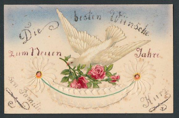 Papierkunst-AK Weisse Taube mit Rosen im Schnabel und Blumen-Ornamente