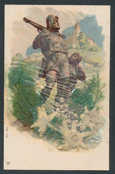 Trockenblumen-AK Wilhelm Tell Denkmal, Edelweiss als Trockenblumen