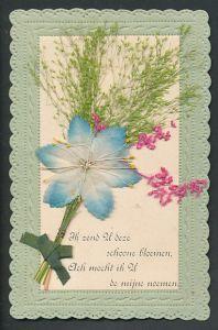 Trockenblumen-AK Blaue Blüte aus Stoff und getrocknete Gräser