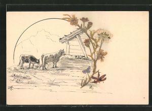 Trockenblumen-AK Getrocknete aufgeklebte Blumen, Kühe auf der Alm