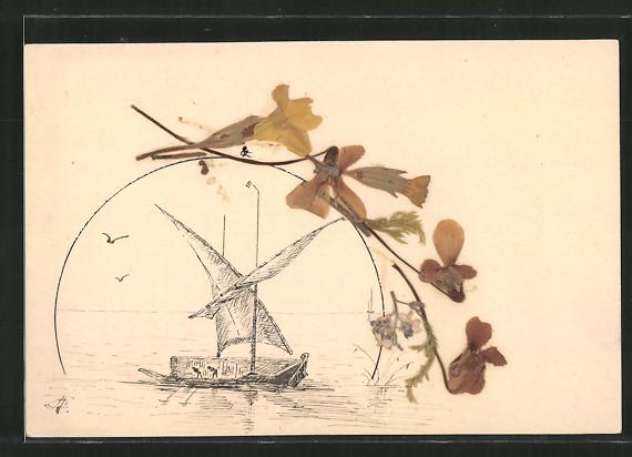 Trockenblumen-AK Getrocknete aufgeklebte Blumen, Segelboot auf dem Meer 0
