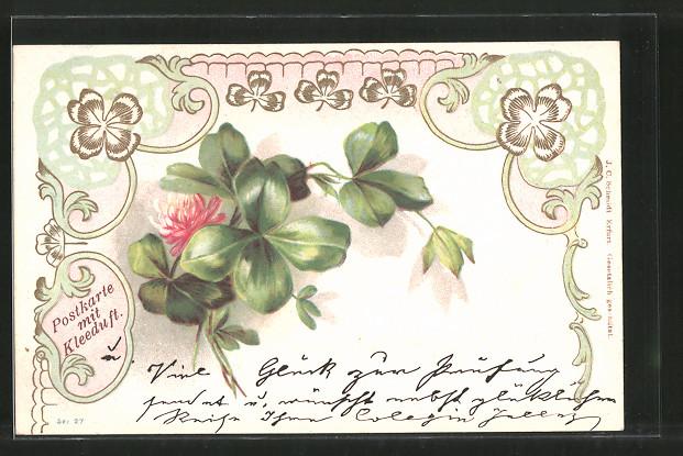 Präge-Lithographie mit Kleeduft, Vierblättriger Klee