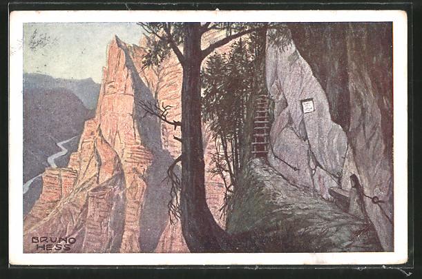 Künstler-AK Bruno Hess: Wasserfallweg, Emesruhe