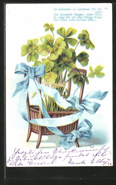 AK Vierblättriger Klee mit blauer Schleife