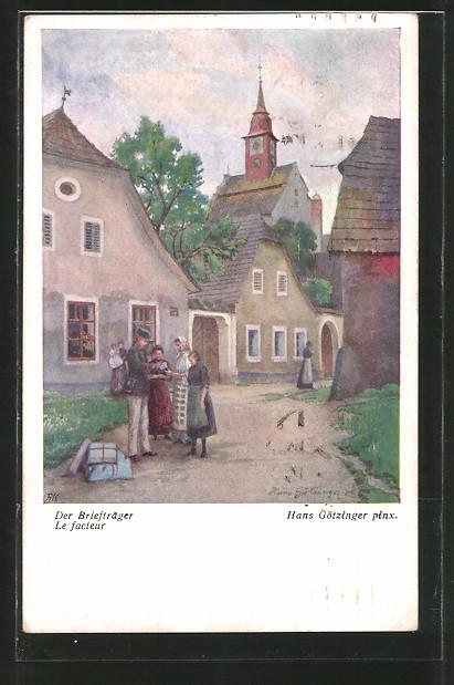 Künstler-AK Hans Götzinger: Briefträger stellt die Post zu
